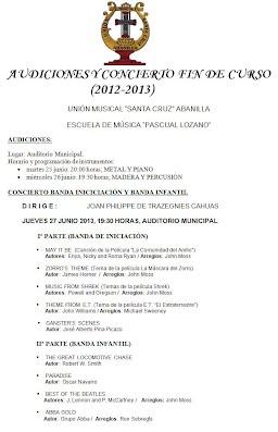 Cartel audiciones y concierto fin de curso 2012/2013