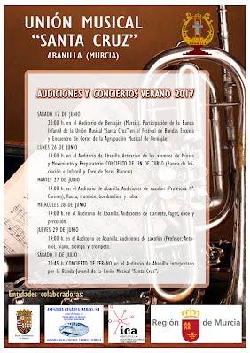 Cartel audiciones y concertos de verano 2017