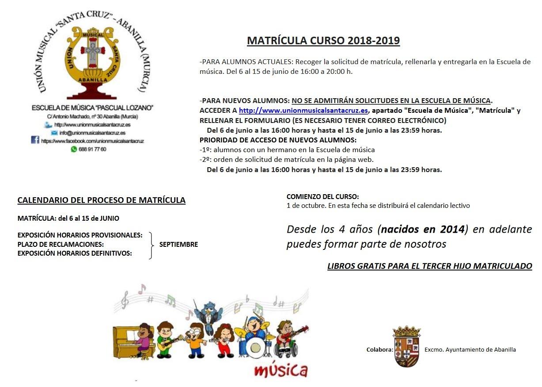 Cartel Matrícula 2018-2019