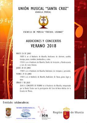 Cartel Audiciones y concierto de verano 2018